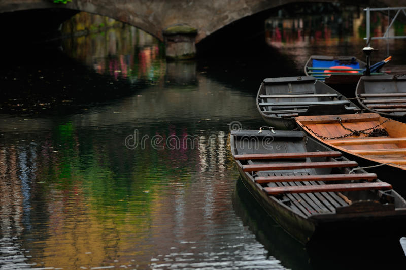 Lauch river with boats in Colmar town, France royalty free stock photos
