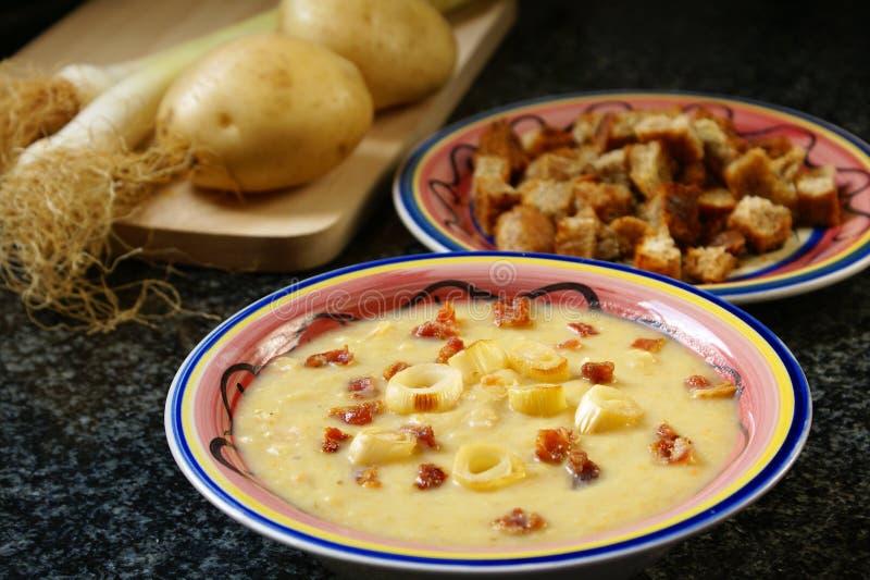 Lauch und Kartoffelsuppe lizenzfreie stockfotografie