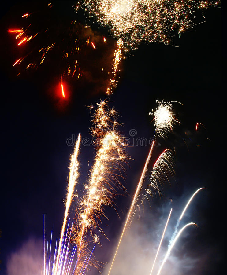 Lauching Fireworks Stock Images