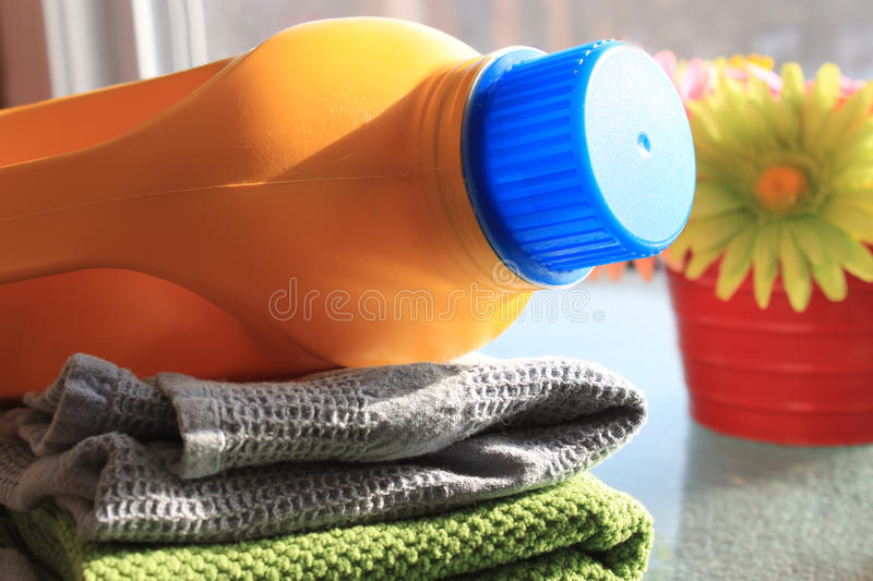 Laudry and detergent bottle stock photo