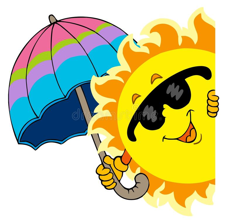 Lauernder Sun Mit Regenschirm Stockfotografie