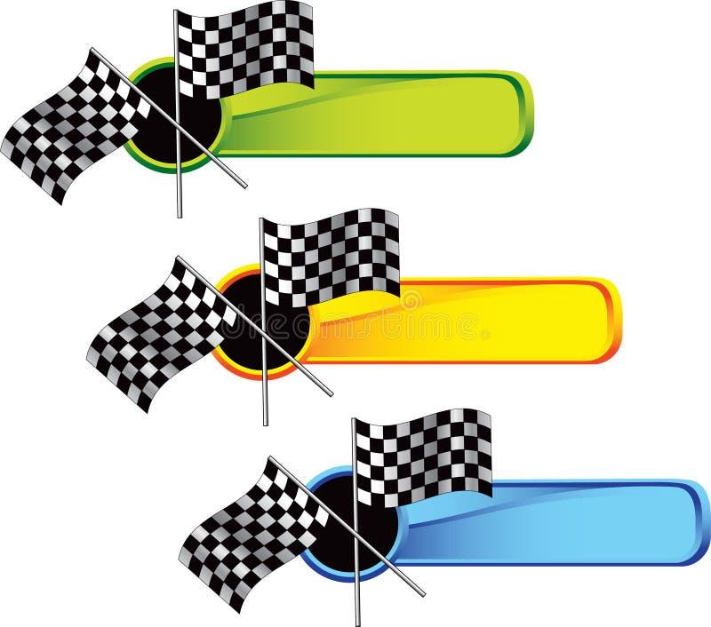 Laufen der checkered Markierungsfahnen auf farbigen Tabulatoren lizenzfreie abbildung