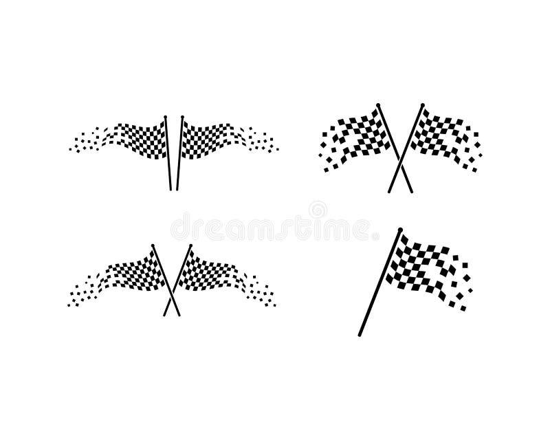 Laufen der Flaggenikone von automotif Illustration vecto lizenzfreie abbildung
