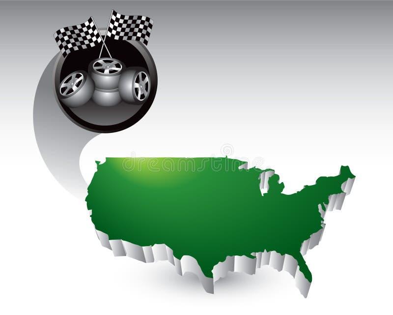 Laufen der Gummireifen und der Markierungsfahnen auf Staat-Ikone stock abbildung