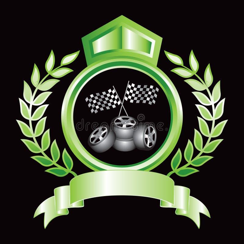 Laufen der Markierungsfahnen und der Gummireifen auf grüner königlicher Bildschirmanzeige lizenzfreie abbildung
