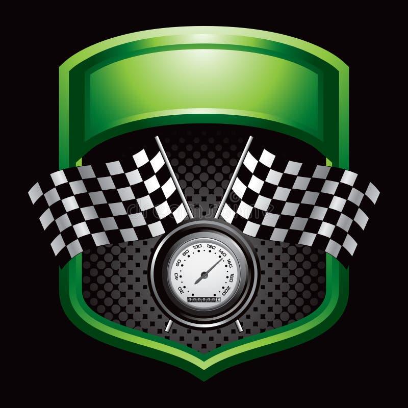 Laufen der Markierungsfahnen und des Geschwindigkeitsmessers auf grüner Bildschirmanzeige lizenzfreie abbildung