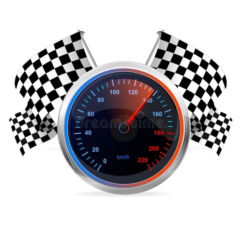 Laufen des Geschwindigkeitsmessers und der Zielflaggen. Vektor lizenzfreie abbildung