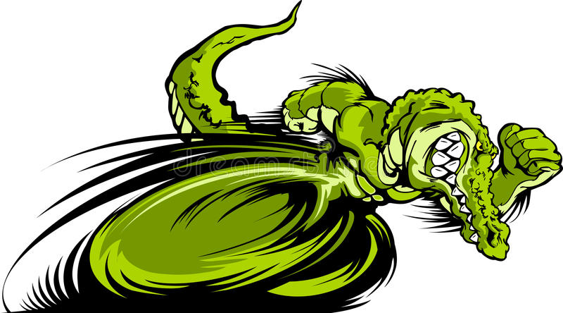 Laufen Gator oder Croc des Maskottchen-Grafik-Bildes stock abbildung
