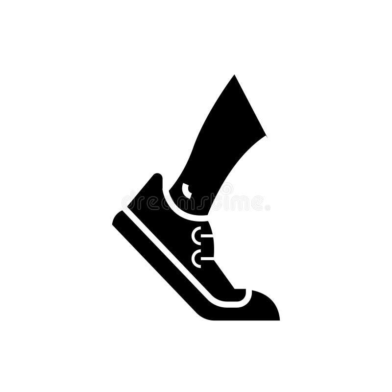 Laufen - Ikone aufspürend, schwärzen Vektorillustration, Zeichen auf lokalisiertem Hintergrund vektor abbildung