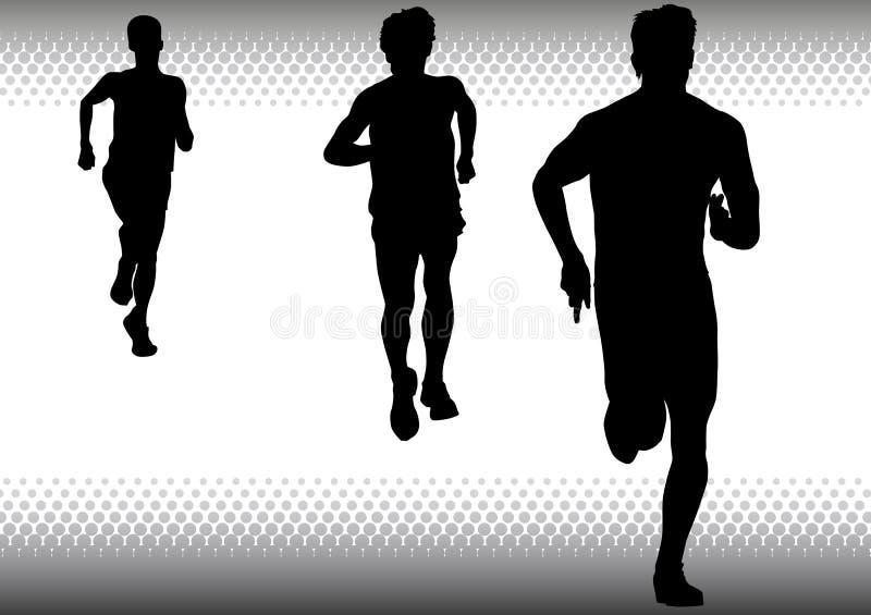 Laufen mit drei Jungen stock abbildung