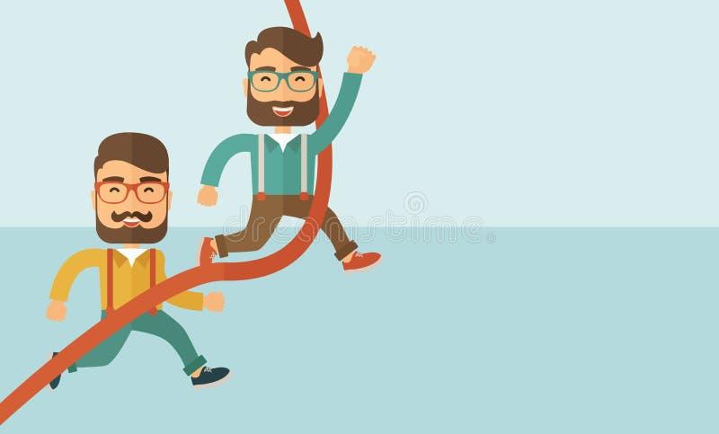 Laufen mit zwei Männern lizenzfreie abbildung