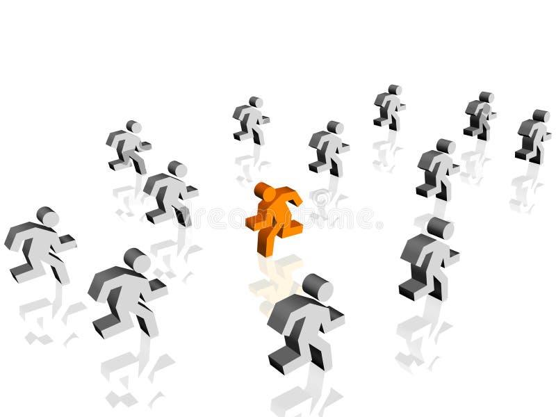 Laufen Sie in entgegengesetzte Richtung stock abbildung