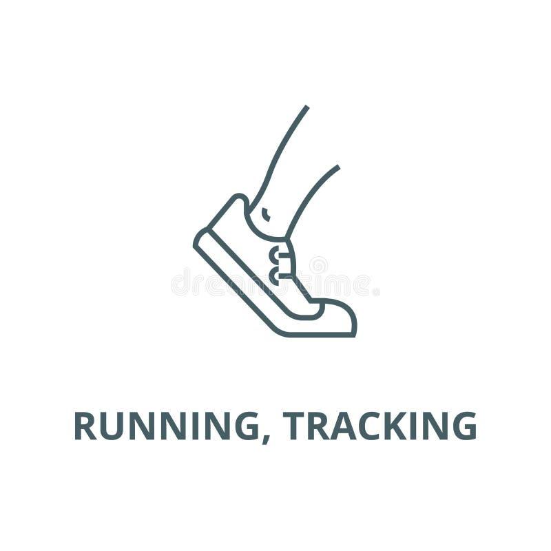 Laufen, Vektorlinie Ikone aufspürend, lineares Konzept, Entwurfszeichen, Symbol vektor abbildung