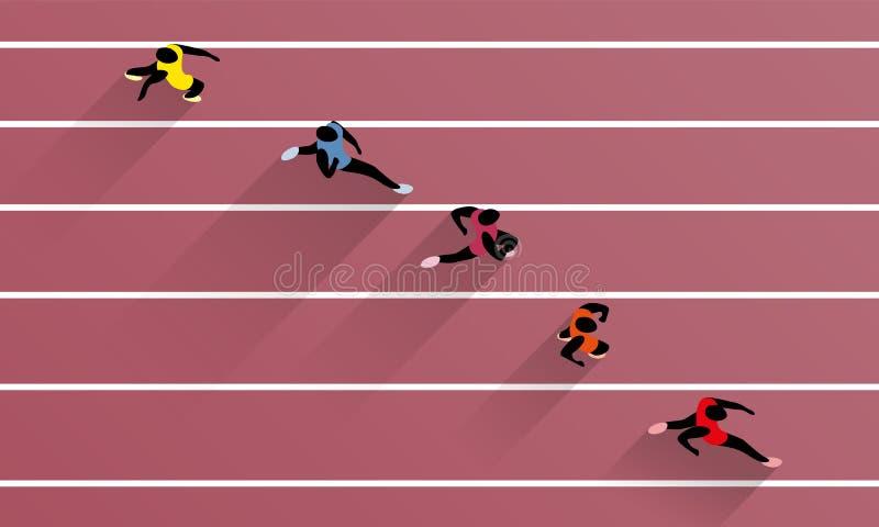 Laufen von Athleten auf athletischer Rennstrecke lizenzfreie abbildung