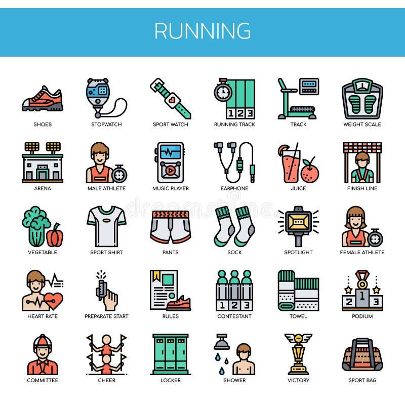 Laufende Elemente, Pixel-perfekte Ikonen lizenzfreies stockbild