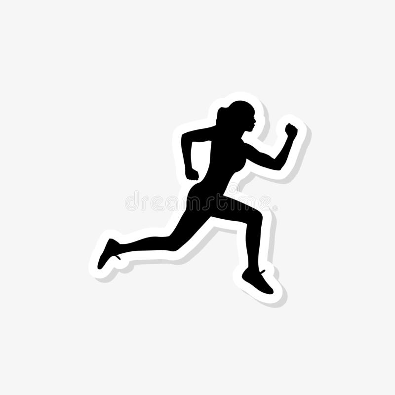 Laufende Frau, abstraktes lokalisiertes Schattenbild Gesunder Lebensstil stock abbildung