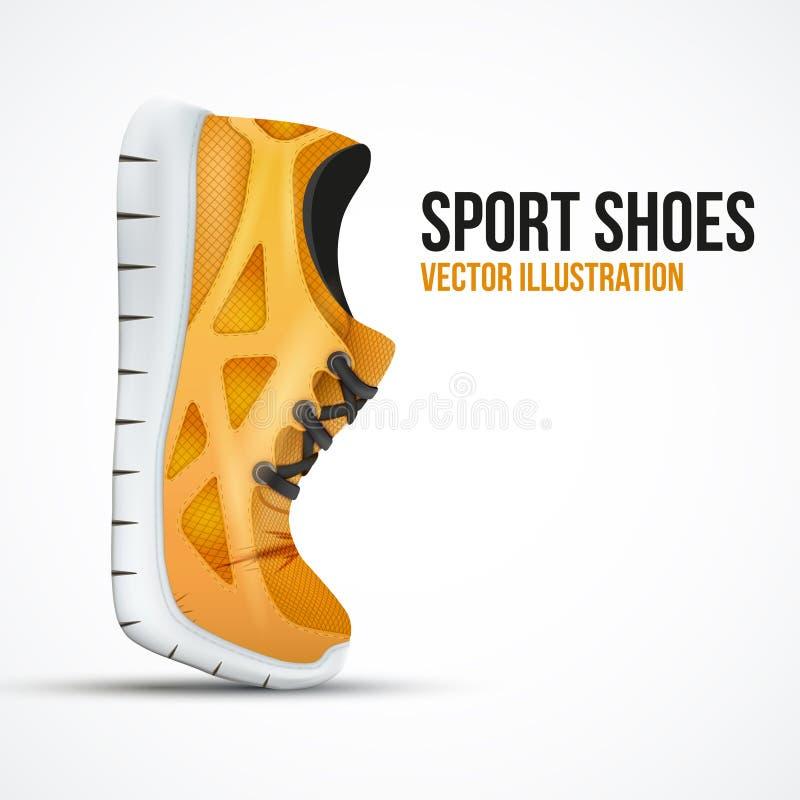 Laufende gebogene orange Schuhe Helle Sportturnschuhe lizenzfreie abbildung