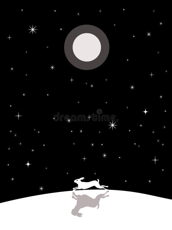 Laufende Hasen nachts vektor abbildung