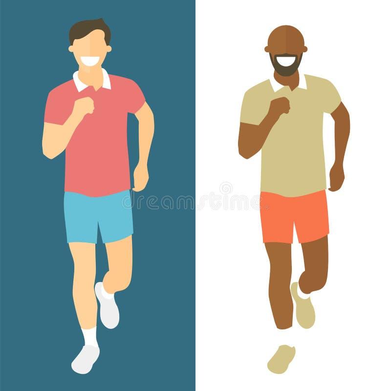 Laufende Männer des flachen Designs Mannlauf, Vorderansicht Vector Illustrationen für gesunden Lebensstil, Gewichtsverlust, Gesun lizenzfreie abbildung