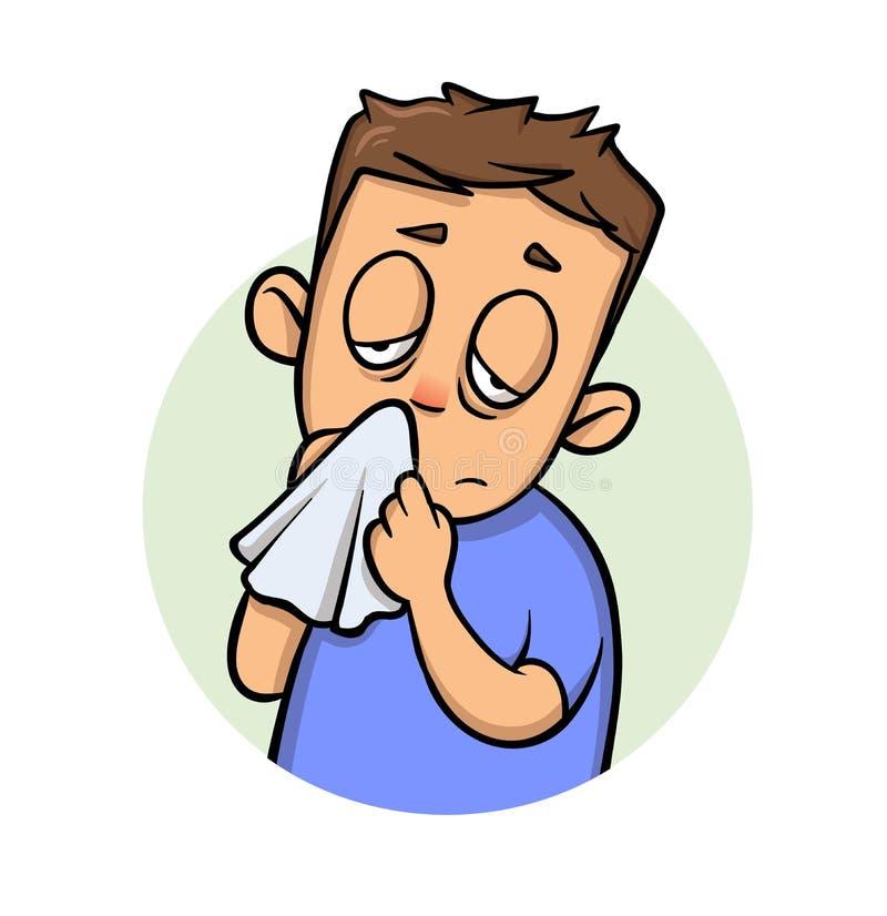Laufende Nase Kranker Junge mit einem Taschentuch Karikaturdesignikone Flache Vektorillustration Getrennt auf weißem Hintergrund lizenzfreie abbildung