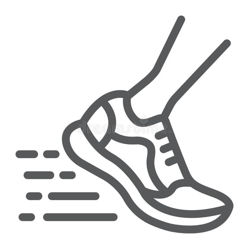 Laufende schnelle Linie Ikone, Schuhe und Sportschuhe lizenzfreie abbildung