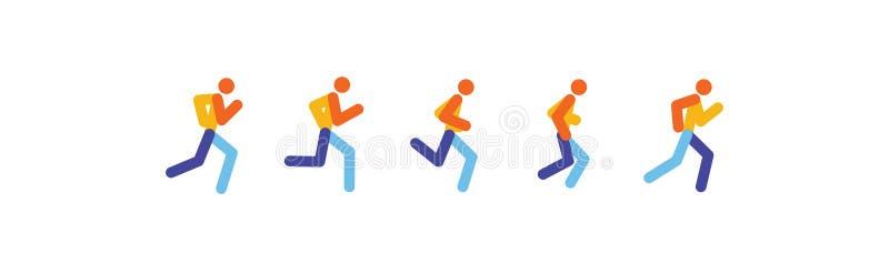 Laufende und rüttelnde Leute Sport lässt Leuteschattenbild-, Illustrationslauf- und Rüttelnleute laufen laufende Bewegung Vektor lizenzfreie abbildung