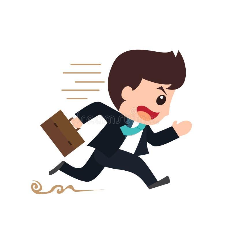 Laufende Verpflichtungskarikatur des Geschäftsmannes stockfoto