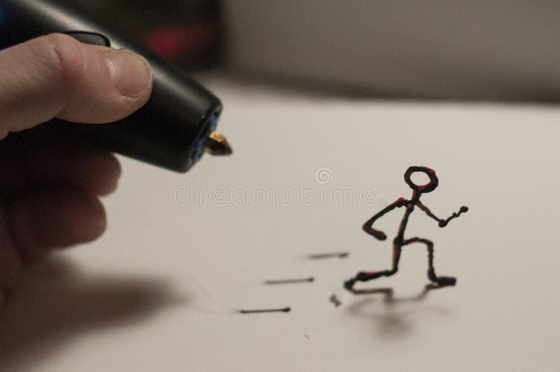 Laufende Zahl gemacht durch Stift 3D stock abbildung