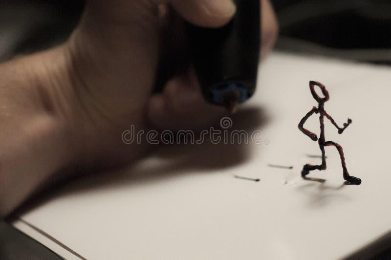 Laufende Zahl gemacht durch Stift 3D lizenzfreie stockbilder