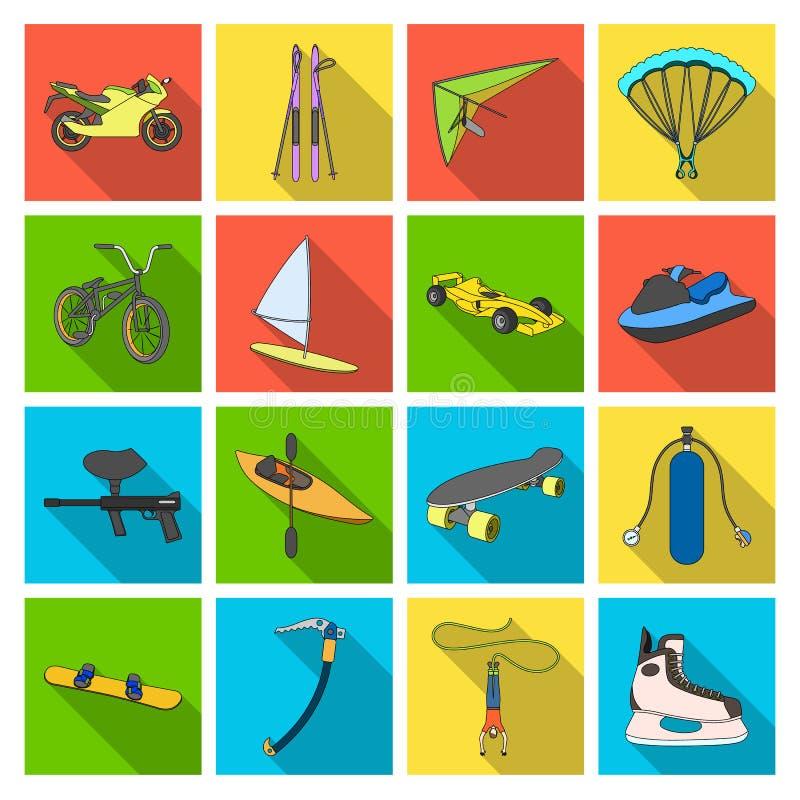 Laufender, Abfahrtskilauf des Motorrades, springend, springen mit Fallschirm ab und andere Sport Extremer Sport stellte Sammlungs vektor abbildung