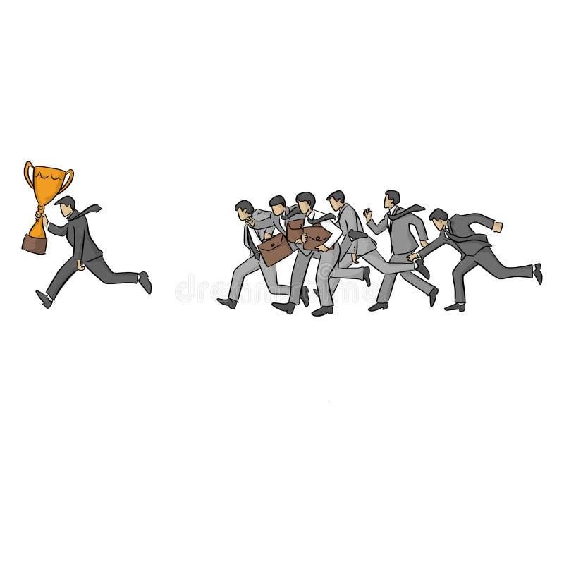 Laufender Geschäftsmann mit der Goldtrophäe gefolgt von anderer Wirtschaftlervektorillustrationsskizzen-Gekritzelhand gezeichnet  lizenzfreie abbildung