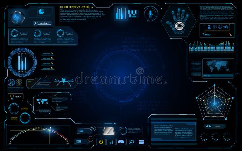 Laufender grafischer Konzepthintergrund des Hud-Schnittstelle ui Entwurfstechnologie-Innovationssystems vektor abbildung