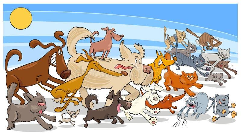 Laufender Hund der Karikatur und Katzengruppe lizenzfreie abbildung