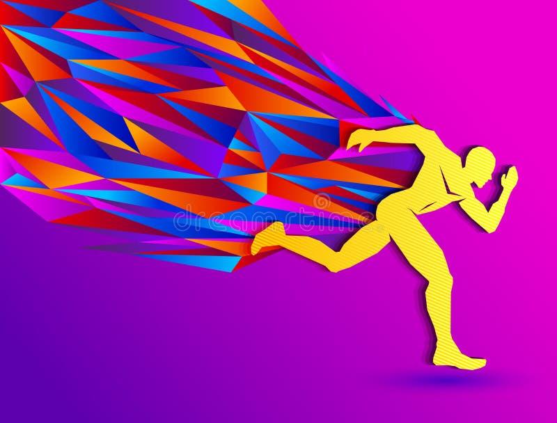 Laufender Mann, abstraktes Sportschattenbild, Leichtathletikkonzept mit buntem Läufer lizenzfreie abbildung