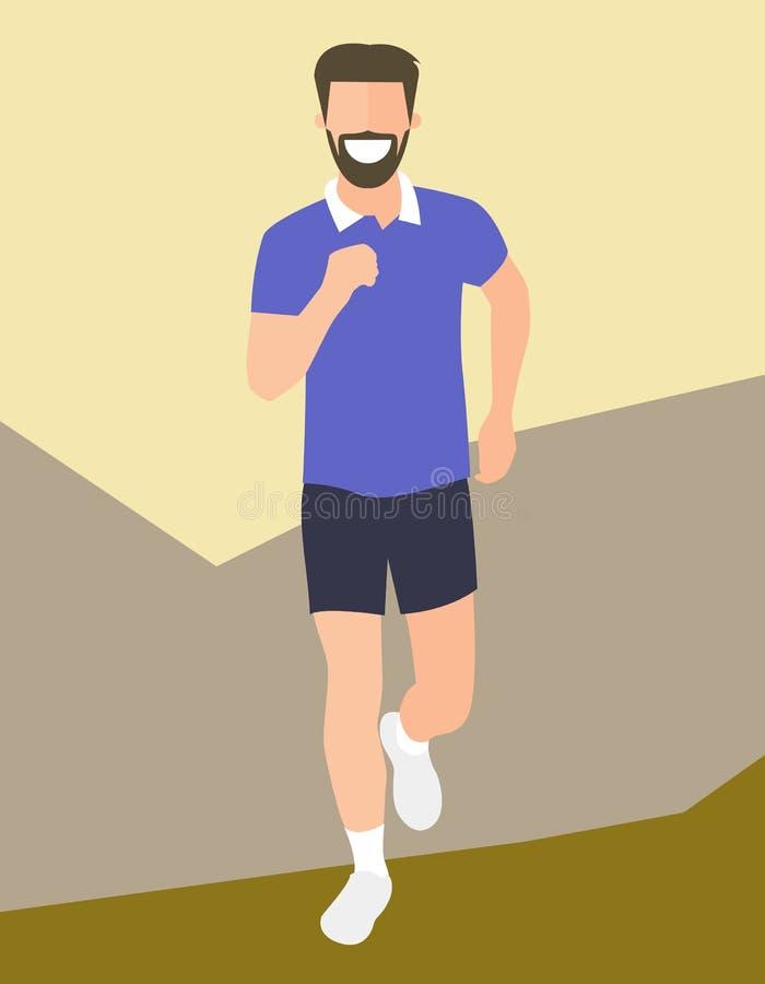 Laufender Mann des flachen Designs Jungenlauf, Vorderansicht Vector Illustration für den gesunden Lebensstil, Gewichtsverlust, Ge vektor abbildung