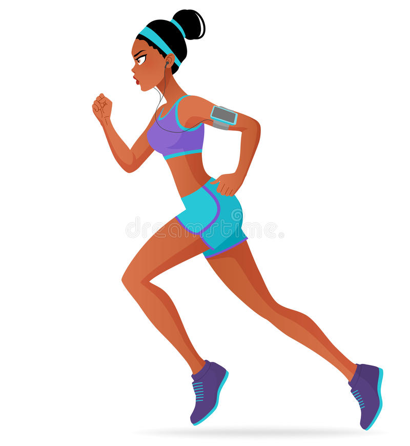 Laufender Marathon der sportlichen schwarzen Athletenfrau mit Kopfhörern Karikatur-Vektorillustration lokalisiert auf weißem Hint stock abbildung