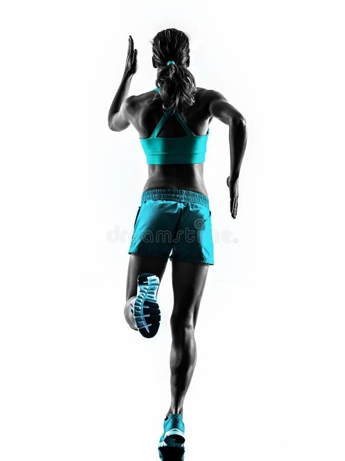 Laufender Rüttler des Frauenläufers, der Schattenbild der hinteren Ansicht rüttelt lizenzfreie stockfotos