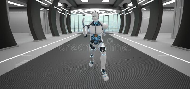 Laufender Roboter-futuristischer Raum lizenzfreie abbildung