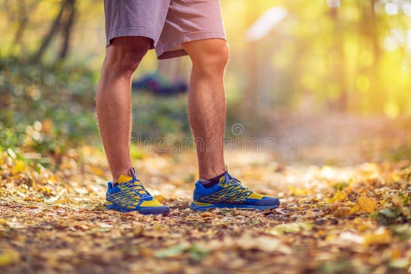 Laufender Sporteignungsmann Schließen Sie oben von den männlichen Beinen und von den Schuhen Mann stockfoto