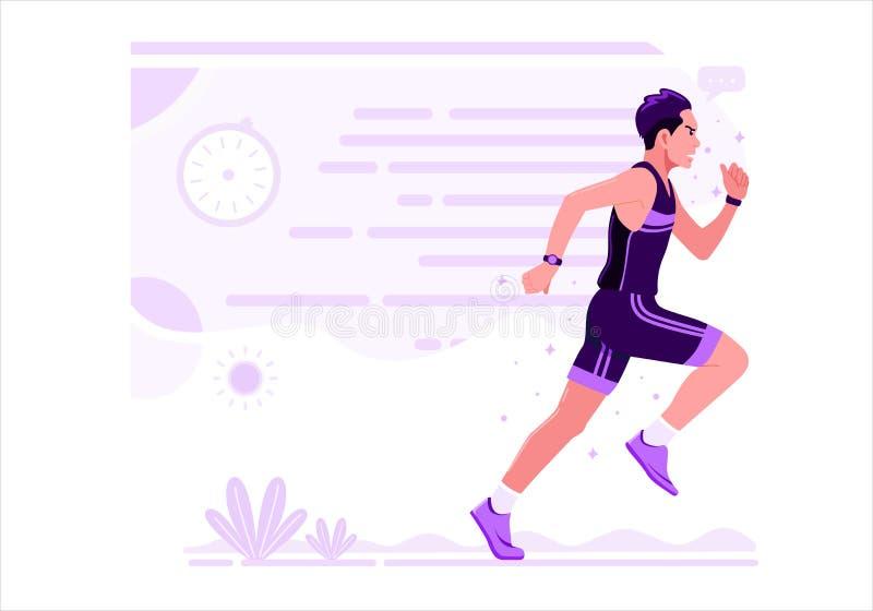 Laufender Vektorillustration des Mann-athletischen Sports flacher Entwurf lizenzfreie abbildung