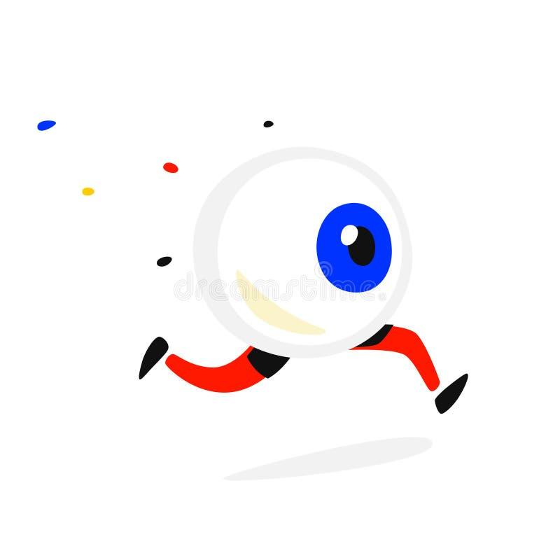 Laufendes Auge des Charakters Vektor Firmenlogo für den Speicher, Fahne Das Bild eines Fliehenblickes Großer Bruder überwacht Sie lizenzfreie abbildung