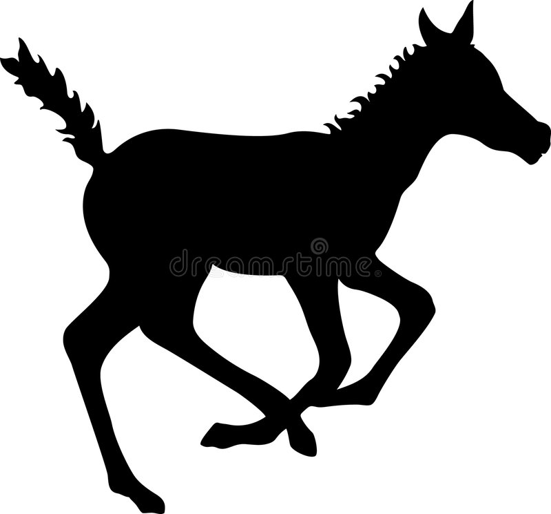 Laufendes Colt-Schattenbild stock abbildung
