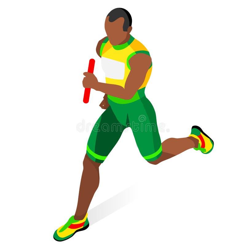 Laufendes Mann-Relais des athletischer Sport-Ikonen-Satzes Alte Straßenausdehnungen der leeren Landschaft in der Perspektive Isom lizenzfreie abbildung
