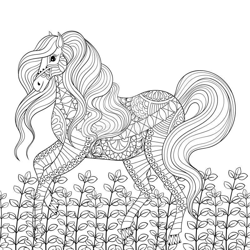 Laufendes Pferdeerwachsene Antidruckfarbtonseite Hand gezeichnetes zentang vektor abbildung