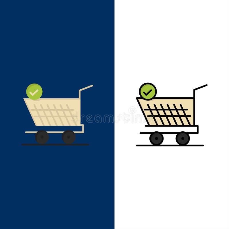 Laufkatze, Einzelhandel, Einkaufen, Wagen-Ikonen Ebene und Linie gefüllte Ikone stellten Vektor-blauen Hintergrund ein lizenzfreie abbildung