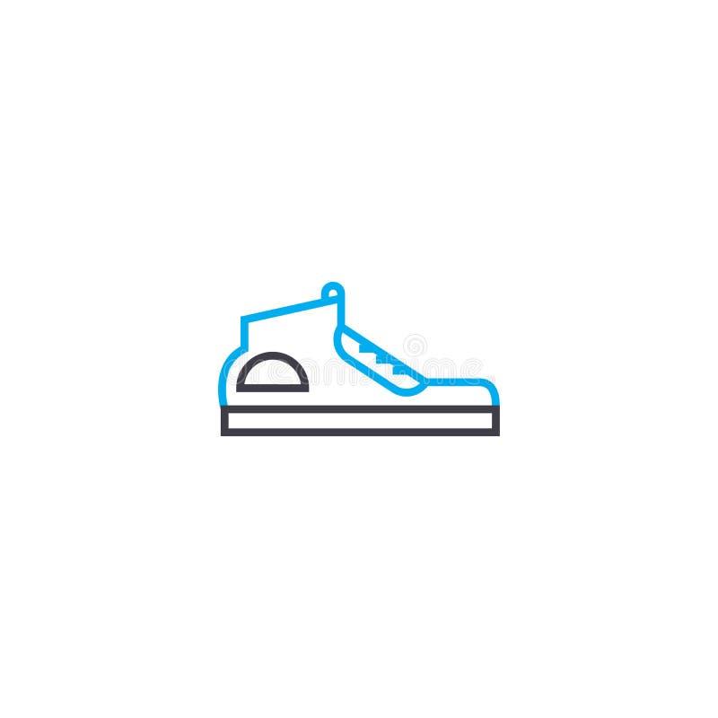 Laufschuhe vector dünne Linie Anschlagikone Laufschuhentwurfsillustration, lineares Zeichen, Symbolkonzept vektor abbildung