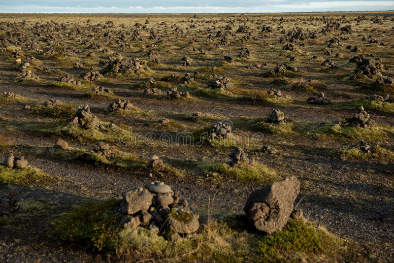 Laufskalavarda lawowa grań i kamienni kopowie, Iceland zdjęcia royalty free