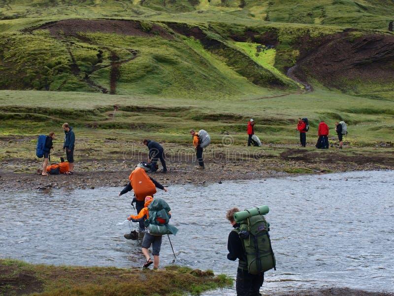 Laugavegur, Furtüberfahrt Island lizenzfreie stockfotografie