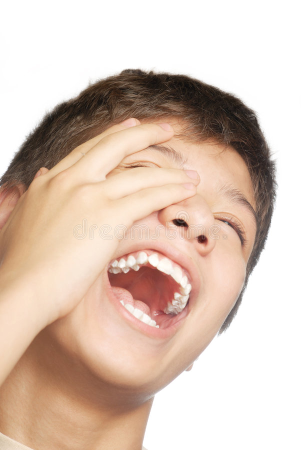Laugh. Isolated studio photo of laughing boy on the white background royalty free stock images