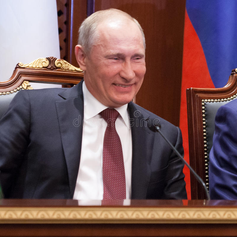 "A Laugh of Vladimir Putin. "" Vladimir Putin "" 2nd and 4th President of Russia stock photo"
